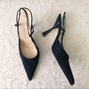 Chanel Black Slingback Rhinestone Heels Size 39.5